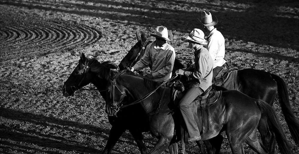 Black & White Photograph Three Cowboy Rodeo Outriders