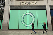 People out and about pass the now closed Topshop store on Oxford Street on 26th May 2021 in London, United Kingdom. As the coronavirus lockdown continues its process of easing restrictions, more and more people are coming to the West End as more businesses open.