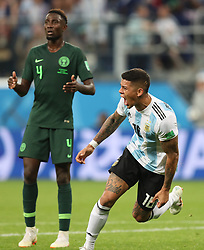 SAINT PETERSBURG, June 26, 2018  Marcos Rojo (R) of Argentina celebrates scoring during the 2018 FIFA World Cup Group D match between Nigeria and Argentina in Saint Petersburg, Russia, June 26, 2018. Argentina won 2-1 and advanced to the round of 16. (Credit Image: © Yang Lei/Xinhua via ZUMA Wire)