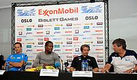 Friidrett<br /> 12. Juni 2013<br /> Bislett Games<br /> Pressekonferanse<br /> Tero Pitkämäki (L) , Keshorn Walcott (3R) , Andreas Thorkildsen (2R) og Kjell-Gunnar Dahle (R)<br /> Foto Astrid M. Nordhaug