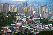 An aerial view of part of the central business district of Caracas, the capital of Venezuela and its surrounding barrios that reach up into the surrounding hills.