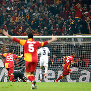Galatasaray's Wesley Sneijder (3ndR) scores during their UEFA Champions League Quarter-finals, Second leg match Galatasaray between Real Madrid at the TT Arena AliSamiYen Spor Kompleksi in Istanbul, Turkey on Tuesday 09 April 2013. Photo by Aykut AKICI/TURKPIX