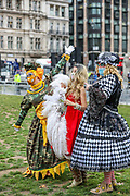 Pantomime dames and creative workers gather to protest in Parliament Square ahead of Prime Minister's Questions, following a Panto Parade march through London on Wednesday, Sept 30, 2020 - to highlight the impact of the pandemic on pantomime and live theatre. (VXP Photo/ Vudi Xhymshiti)