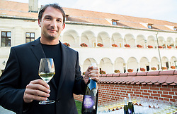 Primoz Kozmus, Olympic and World Champion in Hammer Throw with his own wine Primus in Cosmos when ending his sports career, on October 23, 2015 in Grad Brezice, Slovenia. Photo by Vid Ponikvar / Sportida