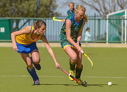 Michelle Dykman of Eunice(green) and Antoinette de Vries of Waterkloof during day two of the FNB Private Wealth Super 12 Hockey Tournament held at Oranje Meisieskool in Bloemfontein, South Africa on the 7th August 2016, <br /> <br /> Photo by:   Frikkie Kapp / Real Time Images