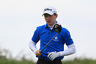 Joshua Hill (Galgorm Castle) on the 16th tee during Round 2 of the Connacht U16 Boys Amateur Open Championship at Galway Bay Golf Club, Oranmore, Galway on Wednesday 17th April 2019.<br /> Picture:  Thos Caffrey / www.golffile.ie
