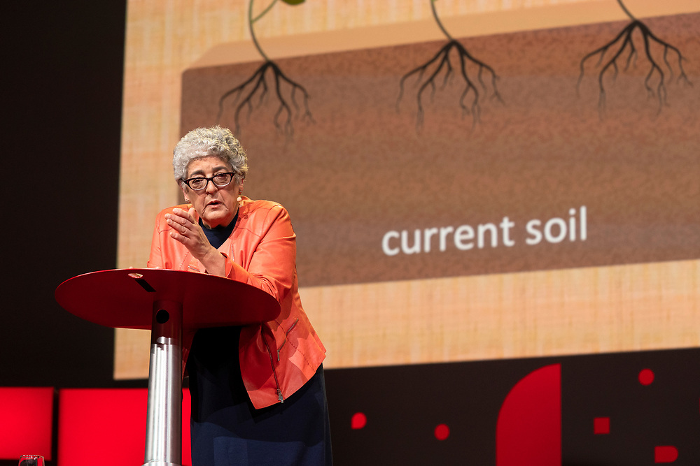 Joanne Chory speaks at TED2019: Bigger Than Us. April 15 - 19, 2019, Vancouver, BC, Canada. Photo: Bret Hartman / TED