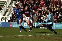 Photo: Ian Hebden.<br />Peterborough United v Northampton Town. Coca Cola League 2. 01/04/2006.<br />Northamptons Scott McGleish (C) scores the first goal.