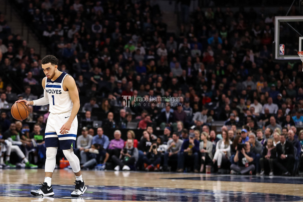 Feb 15, 2018; Minneapolis, MN, USA; Minnesota Timberwolves guard Tyus Jones (1) during a game between the Minnesota Timberwolves and Los Angeles Lakers at Target Center. Mandatory Credit: Brace Hemmelgarn-USA TODAY Sports