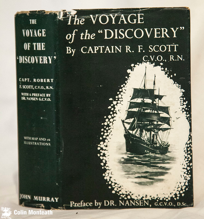 VOYAGE OF THE DISCOVERY, Captain Scott, preface by Nansen, John Murray, London, 1933 one volume edition of 1901-04 British National Expedition, 700 page hardback, Maps B&W plates Good some foxing,  sl chipped but near-complete scarce jacket. ( Arnold Heine collection) - $65.