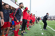 Northern Cyprus team mates and coaches. Northern Cyprus 3 v Padania 2 during the Conifa Paddy Power World Football Cup semi finals on the 7th June 2018 at Carshalton Athletic Football Club in the United Kingdom. The CONIFA World Football Cup is an international football tournament organised by CONIFA, an umbrella association for states, minorities, stateless peoples and regions unaffiliated with FIFA.