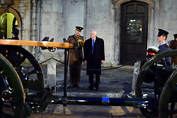 © Licensed to London News Pictures. 15/04/2013. London, UK Broadcaster David Dimbleby who will lead the BBC coverage is briefed at the event. A full rehearsal of the funeral of former British Conservative Prime Minster Baroness Thatcher takes place in central London. Hundreds of members of the armed forces drawn from all three services took part in the practice in the early hours of 15th April 2013. Photo credit : Stephen Simpson/LNP