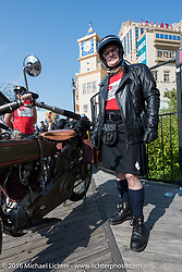 Harry Verkuil of Scotland with his 1916 Harley-Davidson at the start of the Motorcycle Cannonball Race of the Century. Stage-1 from Atlantic City, NJ to York, PA. USA. Saturday September 10, 2016. Photography ©2016 Michael Lichter.