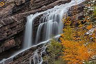 Cameron Falls in autumn in Waterton Lakes National Park, Alberta, Canada