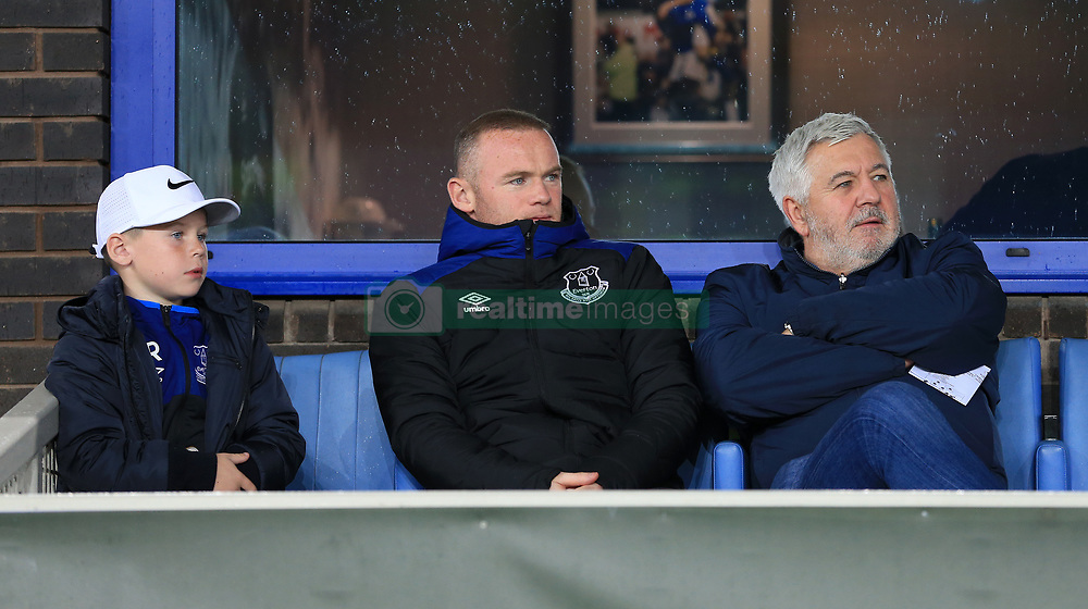 19th October 2017 - UEFA Europa League - Group E - Everton v Olympique Lyonnais - Wayne Rooney of Everton (C) watches from a box alongside his son, Kai, and his agent, Paul Stretford - Photo: Simon Stacpoole / Offside.