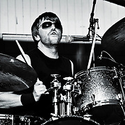 Chis Stromquist on drums for Kultur Shock live at Global Union in Milwaukee, Wi. Photo © Jennifer Rondinelli Reilly. All rights reserved.