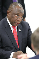 June 28, 2019 - Osaka, Japan - June 28, 2019. - Japan, Osaka. - South Africa's President Cyril Ramaphosa during a meeting with Russia's President Vladimir Putin on the sidelines of the 2019 G20 Summit at the INTEX Osaka International Exhibition Centre. (Credit Image: © Russian Look via ZUMA Wire)