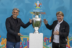 Handout photo dated 02/06/2021 provided by JSHPIX of former Scotland internationals, Stuart McCall and Darren Jackson with the Euro 2020 trophy as the Henri Delaunay Cup made a special visit to Glasgow today as part of the UEFA EURO 2020 Trophy Tour. Issue date: Wednesday June 2, 2021.
