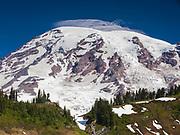 Mt. Rainier National Park.  Mt. Rainier, Glaciers, and Forested Terminal Moraine