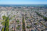 Nederland, Utrecht, Gemeente Utrecht, 30-09-2015; overzicht van de Utrechtse binnenstad vanuit het Zuiden langs de as van de Oudegracht, richting Domtoren. Links Catherijnesingel richting Centraal Sation<br /> Southern part of downtown Utrecht and city centre.<br /> luchtfoto (toeslag op standard tarieven);<br /> aerial photo (additional fee required);<br /> copyright foto/photo Siebe Swart