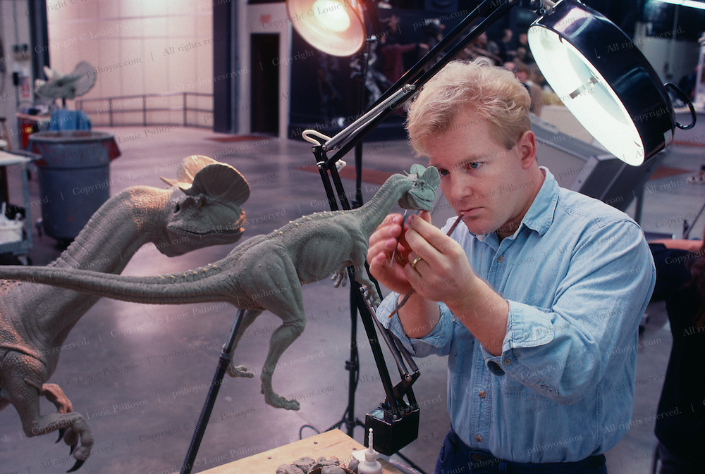 At Stan Winston Studios outside L.A. in Van Nuys, CA., the dinosaurs, like this Dilophosaurus for Steven Spielberg's action epic, Jurassic Park are created by a Winston animator.