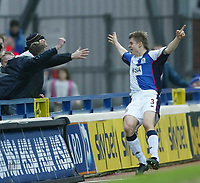 Photo. Aidan Ellis.<br /> Blackburn Rovers v Bolton Wanderers.<br /> FA Barclaycard Premiership.<br /> 10/01/2004.<br /> Blackburn's Vratislav Gresko celebrates his and his teams first goal