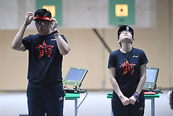 PALEMBANG, Aug. 19, 2018  Wu Jiayu (L)/Ji Xiaojing of China prepare to compete in the 10m Air Pistol Mixed Team final at the 18th Asian Games in Palembang, Indonesia Aug. 19, 2018. Wu Jiayu /Ji Xiaojing won the gold medal. (Credit Image: © Liu Ailun/Xinhua via ZUMA Wire)