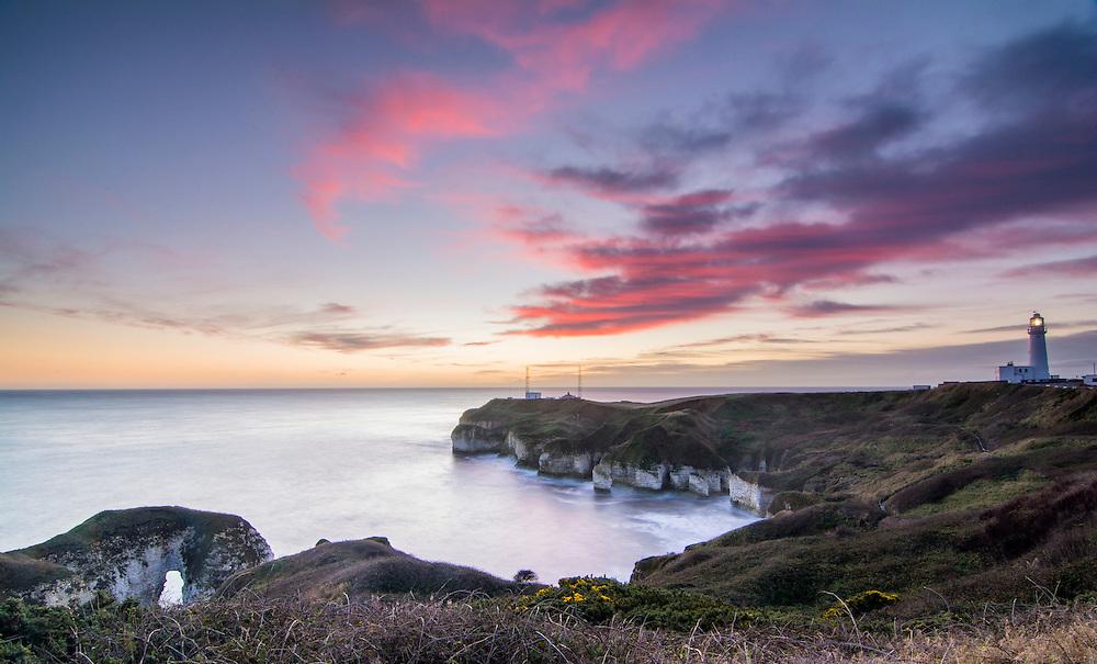 Flamborough Lighthouse at sunrise.