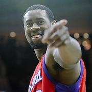 March 25, 2009; Houston, TX, USA;  Los Angeles Clippers center DeAndre Jordan (9) points at a heckling fan against the Houston Rockets in the second half at the Toyota Center.  The Clippers won 99-93. Mandatory Credit: Thomas Campbell-US PRESSWIRE