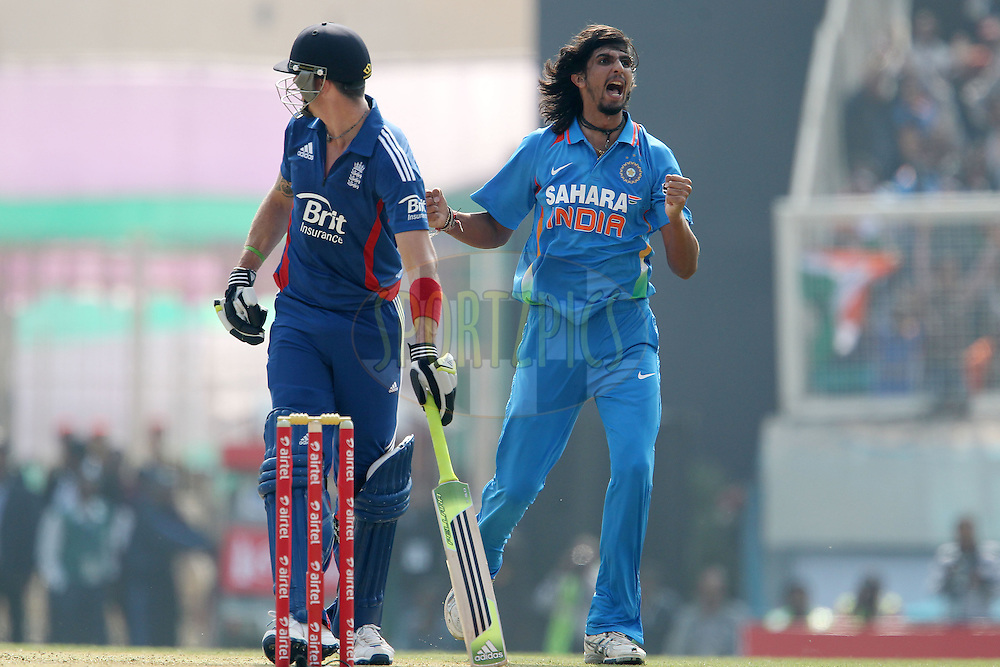 Ishant Sharma of India celebrates the wicket of Kevin Pietersen of England during the 3rd Airtel ODI Match between India and England held at the JSCA International Stadium Complex, Ranchi, India on the 19th January 2013..Photo by Ron Gaunt/BCCI/SPORTZPICS ..Use of this image is subject to the terms and conditions as outlined by the BCCI. These terms can be found by following this link:..http://www.sportzpics.co.za/image/I0000SoRagM2cIEc