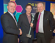 27/01/2014 Declan Dooley congratulates  Kenneth Keavey Green Earth Organics on being the overall winner of the SCCUL Enterprise Awards  and Celebrity Judge Bobby Kerr at the SCCUL Enterprise Awards in the Bailey Allen NUIG.<br /> Photo:Andrew Downes