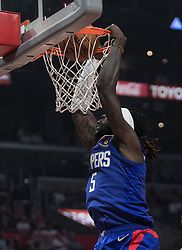 October 21, 2018 - Los Angeles, California, U.S - Montrezl Harrell #5 of the Los Angeles Clippers dunks the ball during their NBA game with the Houston Rockets on Sunday October 21, 2018 at the Staples Center in Los Angeles, California. (Credit Image: © Prensa Internacional via ZUMA Wire)