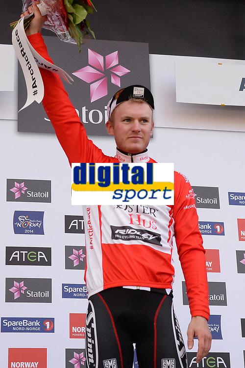 Podium, August JENSEN (Nor) Red Mountain Jersey during the Artic Race Norway 2014, Stage 2, Honningsvag (Nor)- Alta (Nor) (207km) on August 15, 2014. Photo Tim de Waele / DPPI