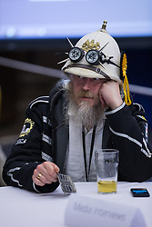 © Licensed to London News Pictures . 05/06/2014 . Newark , Nottinghamshire , UK . Monster Raving Looney . The count for the Newark by-election at Kelham Hall , Newark , this evening (Thursday 5th June 2014) . Photo credit : Joel Goodman/LNP