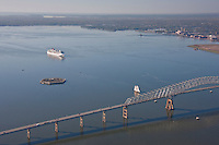 Aerial photo of the Carnival Pride 2 and the Key Bridge with the sailing vessel  The Pride of Baltimore