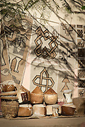 Tapestries and pots being sold in Axum. Ethiopia, Horn of Africa