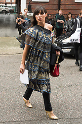 © Licensed to London News Pictures. 17/09/2016. GRACE WOODWARD arrives for the JULIEN MACDONALD Spring/Summer 2017 show. Models, buyers, celebrities and the stylish descend upon London Fashion Week for the Spring/Summer 2017 clothes collection shows. London, UK. Photo credit: Ray Tang/LNP