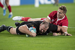 November 1, 2019, Tokyo, Japan: New Zealand's Joe Moody scores a try during the Rugby World Cup 2019 Bronze Final between New Zealand and Wales at Tokyo Stadium. New Zealand defeats Wales 40-17. (Credit Image: © Rodrigo Reyes Marin/ZUMA Wire)