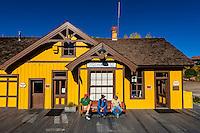 Cumbres & Toltec Scenic Railroad train at station at Chama, New Mexico USA.