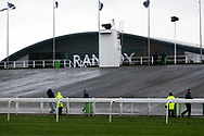 A wet, windswept and miserable Festival Zone with punters choosing to stay inside for the 3.25pm The Betway Aintree Hurdle (Grade 1) 2m 4fduring the Grand National Festival Week at Aintree, Liverpool, United Kingdom on 4 April 2019.