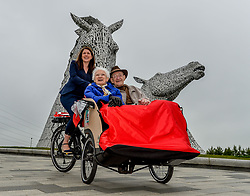 Pictured: Public health and sport minister Aileen Campbell pedals Mary Duncan and Jim Taylor.<br /> <br /> Public health and sport minister Aileen Campbell took to the saddle to launch the Scotland-wide rollout of the Cycling without Age service, designed to get older people out and about.<br /> <br /> © Dave Johnston / EEm