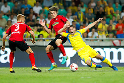 August 3, 2017 - Ljubljana, Slovenia, Slovenia - Caglar Soyuncu of SC Freiburg and Matija Sirok of NK Domzale battle for the ball during the UEFA Europa League Third Qualifying Round match between SC Freibur and NK Domzale at Arena Stozice on 3 rd August , 2017 in Ljubljana, Slovenia. (Credit Image: © Damjan Zibert/NurPhoto via ZUMA Press)