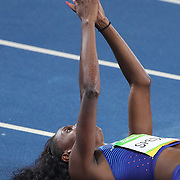 Athletics - Olympics: Day 13  Ashley Spencer of the United States celebrates winning the bronze medal in the Women's 400m Final at the Olympic Stadium on August 18, 2016 in Rio de Janeiro, Brazil. (Photo by Tim Clayton/Corbis via Getty Images)