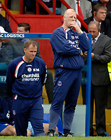 Photo: Daniel Hambury.<br />Crystal Palace v Watford. Coca Cola Championship. Play off Semi-Final, First Leg. 06/05/2006.<br />Palace's manager Iain Dowie contemplates a 3-0 home reverse.