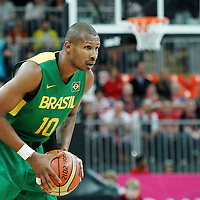 31 July 2012: Brazil Leandrinho Barbosa looks to pass the ball during 67-62 Team Brazil victory over Team Great Britain, during the men's basketball preliminary, at the Basketball Arena, in London, Great Britain.