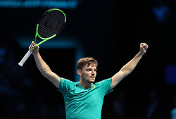 Belgium's David Goffin celebrates beating Spain's Rafael Nadal during day two of the NITTO ATP World Tour Finals at the O2 Arena, London.
