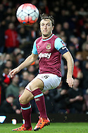 Mark Noble, the West Ham United Captain in action. The Emirates FA cup, 4th round replay match, West Ham Utd v Liverpool at the Boleyn Ground, Upton Park  in London on Tuesday 9th February 2016.<br /> pic by John Patrick Fletcher, Andrew Orchard sports photography.