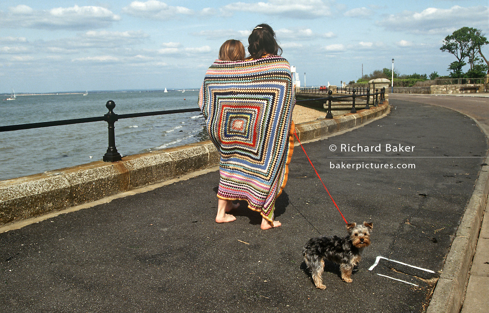 Yorkshire Terrier pet dog looks backwards as its young owners walk away both covered in square-patterned beach blanket.