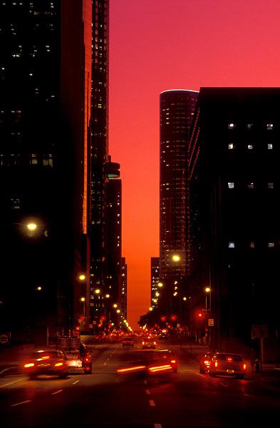 Stock photo of evening traffic through downtown Houston, Texas