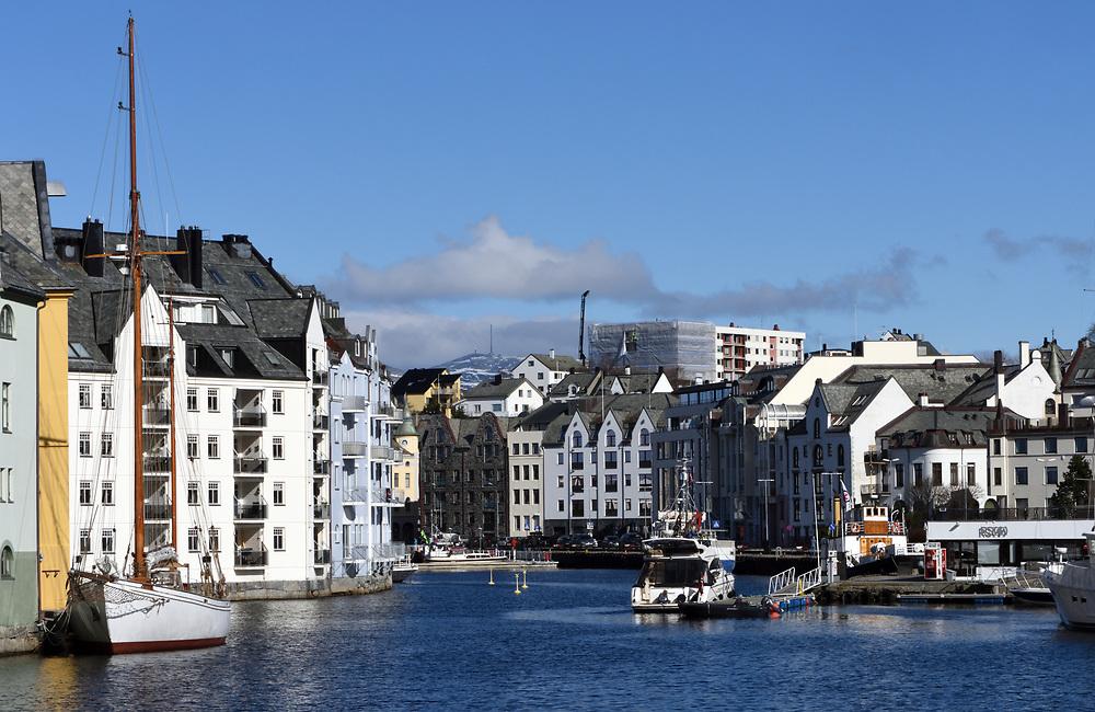 Modern  buildings on the waterfront of the harbour at  Alesund. Ålesund, Møre og Romsdal, Norway.